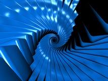 Eindeloze blauwe kubussen in spiraalvormige regeling Vector Illustratie