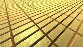 Eindeloze stapels goudstavenbakstenen vector illustratie