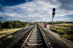 Eindesignaal op de spoorweg Stock Fotografie
