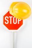 Eindeteken en oranje veiligheidshelm Royalty-vrije Stock Fotografie