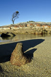 Eindeutige Felsenanordnung, Schacht der Feuer, Tasmanien Lizenzfreie Stockfotos