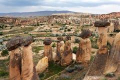 Eindeutige geologische Bildungen, Cappadocia lizenzfreies stockfoto