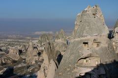 Eindeutiger geologischer und historischer Bereich in Cappadocia Stockfotos