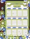 Eindeutiger Kalender des Blumenmuster-2014 Stockfotos