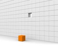 Eindeutiger orange Würfel Stockfotografie