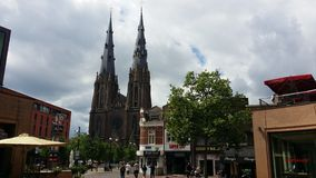 Eindhoven cathedral. And shops Stock Photos