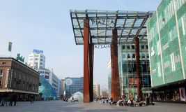 Eindhoven, city center with shoppers, 18 septemberplein, Netherland stock photography