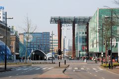 Eindhoven, city center with shopping people, 18 septemberplein, Netherland royalty free stock photos