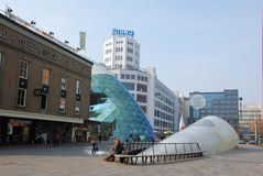 Eindhoven, city center with shopping people, 18 septemberplein, Netherland stock photography