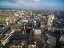Eindhoven Cityscape, Netherlands. Bus station in foreground stock photo