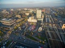 EINDHOVEN, NETHERLANDS - Eindhoven Cityscape, Netherlands. Bus Station and Train Station. Eindhoven Cityscape, Netherlands. Sunset Ligh stock images