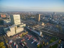 Eindhoven Cityscape, Netherlands. Bus Station and Train Station. Eindhoven Cityscape, Netherlands. Sunset Light royalty free stock images