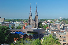 Eindhoven downtown - Netherlands -View from height. City centre Eindhoven-Netherlands- View from height with view from vestdijk to Catholic Catherine Church Royalty Free Stock Images