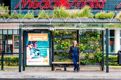 Eindhoven green bus stop Stock Images