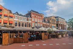 EINDHOVEN, NETHERLANDS - AUGUST 29, 2016: Open air restaurants in the center of Eindhoven, Netherland. S stock images