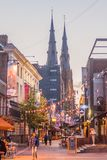 EINDHOVEN, NETHERLANDS - AUGUST 29, 2016: Pedestrian street in the center of Eindhoven, Netherlands. Saint Catherina. Church in the background royalty free stock images