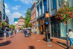 EINDHOVEN, NETHERLANDS - AUGUST 29, 2016: People walk at the pedestrian street in the center of Eindhoven, Netherland. S stock photos