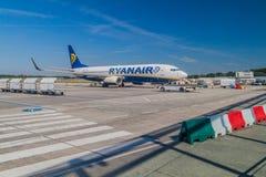 EINDHOVEN, NETHERLANDS - AUGUST 31, 2016: Ryanair airplane at Eindhoven airport, Netherland. EINDHOVEN, NETHERLANDS - AUGUST 31, 2016: Ryanair airplane at stock image