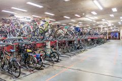 EINDHOVEN, NETHERLANDS - AUGUST 29, 2016: Underground bicycle parking at 18 Septemberplein square in Eindhove. N stock photo