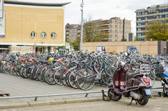 Eindhoven, the Netherlands - 15.09.2015: Bicycles parked close t stock image