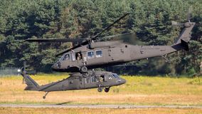 United States Army Sikorsky UH-60 Blackhawk transport helicopter. EINDHOVEN, THE NETHERLANDS - JUN 22, 2018: United States Army Sikorsky UH-60 Blackhawk stock photo
