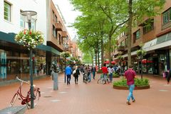 EINDHOVEN, NETHERLANDS - JUNE 5, 2018: people walking in Eindhoven main street, Netherlands royalty free stock photos