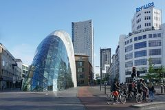 Eindhoven, The Netherlands - May 26, 2019: Business city center of Eindhoven. Modern buildings and facilities.  royalty free stock image