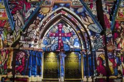 EINDHOVEN, NETHERLANDS - 16 NOVEMBER 2017: Projection mapped St. Catherine`s Church. The GLOW is a festival in Eindhoven where artists present light art and Stock Images