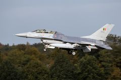 Belgian Air Force F-16 fighter jet flyby. EINDHOVEN, THE NETHERLANDS - OCT 27, 2017: Belgian Air Force F-16 fighter jet flyby Stock Photo