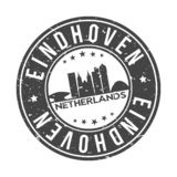 Eindhoven Netherlands Round Button City Skyline Design Stamp Vector Travel Tourism. Skyline with emblematic Buildings and Monuments of this famous city stock illustration