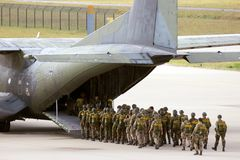 Military paratroopers airplane Royalty Free Stock Photography