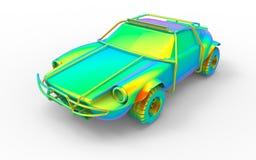 Eindig analyseer model op een offroad auto vector illustratie