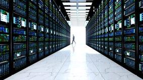 Eindmonitor in serverruimte met serverrekken in datacenter Royalty-vrije Stock Afbeelding