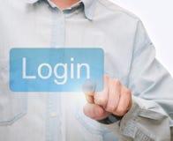 Eindrücken der LOGON-Taste Lizenzfreie Stockfotos