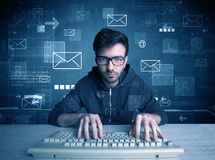 Eindringling, der E-Mail-Passwortkonzept zerhackt Stockfotos
