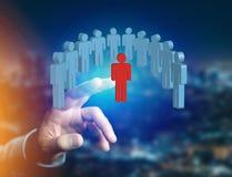 Eindringling in einer Gruppe Netzleuten - Geschäft und Kontakt legen herein stockfoto
