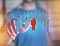 Eindringling in einer Gruppe Netzleuten - Geschäft und Kontakt legen herein lizenzfreies stockbild