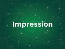 Eindruck auf Websiteseite - ein Ausdruck, der auf den Punkt sich bezieht, in dem eine Anzeige einmal von einem Besucher angesehen Stockfotografie