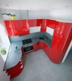 Eindrucksvolle gebogene Küchenmitte- des jahrhundertsfarbakzente, 3D übertragen Stockbilder