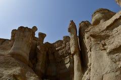 Eindrucksvoller Al Qarah Mountain in Saudi-Arabien, in seinem vollen von Monumenten und von Geschichte Lizenzfreie Stockfotografie