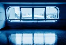 Einduit het raam van het vliegtuig Stock Fotografie