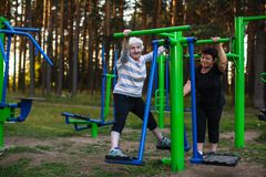 Eine ältere Frau mit einer erwachsenen Tochter tut Übungen auf dem Sportspielplatz stockbilder