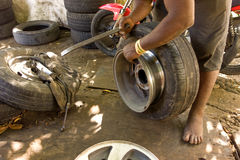 Eine Änderung von Reifen in den Karibischen Meeren Stockfoto