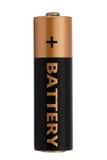 Eine AA-Batterie lokalisiert auf Weiß, mit Beschneidungspfad Lizenzfreies Stockfoto