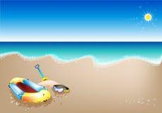 Eine Abbildung der aufblasbaren Boots-und Unterwasseratemgerät-Maske Lizenzfreie Stockbilder