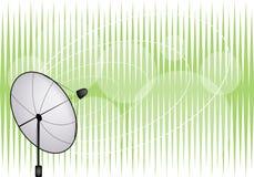 Eine Abbildung der Satellitenschüssel auf grünem Backgro Stockfoto