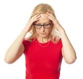 Eine Abbildung einer frustrierten Frau Stockbild