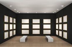 Eine Abbildung eines leeren Museumsraumes mit Feldern Lizenzfreie Stockfotos