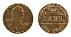 Eine abgetragene Centmünze mit Lincoln lizenzfreies stockbild