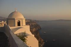 Eine Abhangkirche, Santorini Stockbilder